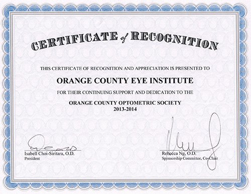 Participation on Orange County Optometric Society 2013/14