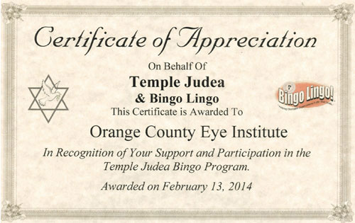 Certificate of appreciation Temple Judea & Bingo Lingo