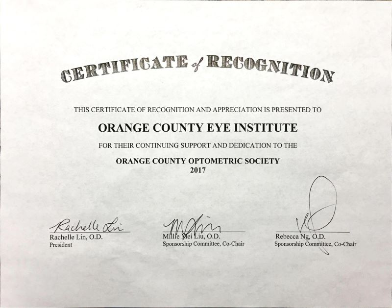 Orange County Optometric Society Certificate of Recognition