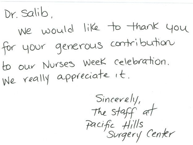 Thank you note, nurses week celebration